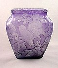 Consolidated Glass Chickadee Vase - Amethyst
