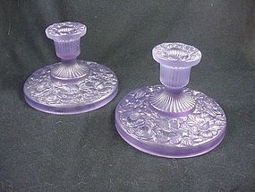 Consolidated Glass Iris Candlesticks - Amethyst