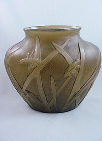 Consolidated Glass Katydid Ovoid Vase - Sepia