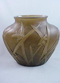 Consolidated Glass Katydid Ovoid Vase - Sepia