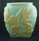 Consolidated Glass Seagulls Vase - Custard with Blue & Peach