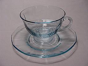 Fostoria Fairfax Footed Cup & Saucer Set - Azure Blue