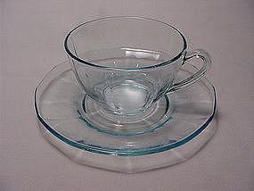 Fostoria Fairfax Flat Cup & Saucer Set - Azure Blue