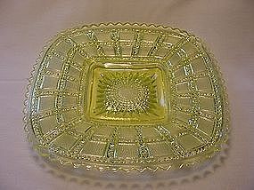 Beaded Block Square Plate - Vaseline Yellow
