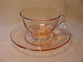 Fostoria Fairfax Footed Cup & Saucer - Pink