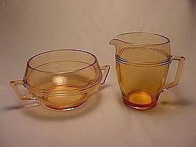 Fostoria Priscilla Large Sugar & Creamer Set - Amber