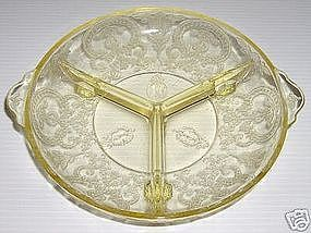 Horseshoe Yellow 3 Part Relish Dish