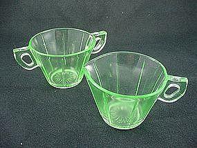 U.S. Glass Tendril Sugar & Creamer Set