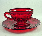 Fenton Georgian Cup & Saucer Set - Ruby