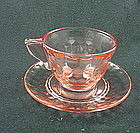 Hex Optic Cup & Saucer Set - Pink