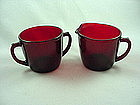 FireKing Royal Ruby Creamer & Sugar Set - Flat