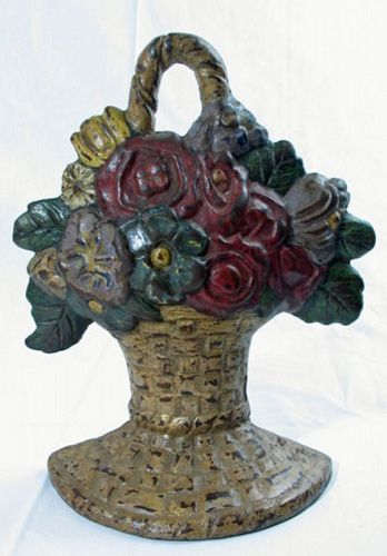 Cast Iron Doorstop - Flower Basket