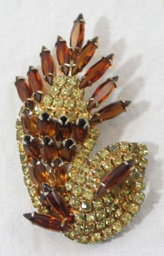 Amber and Clear Rhinestone Brooch