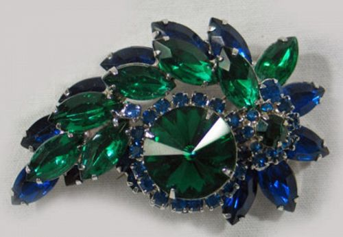 Blue and Green Rhinestone Wreath Brooch