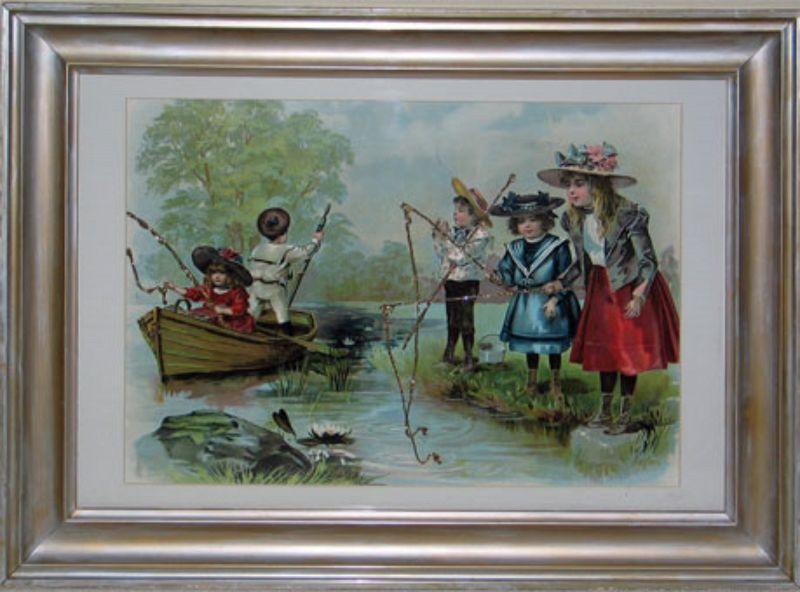 Children Fishing (Chromolithograph)