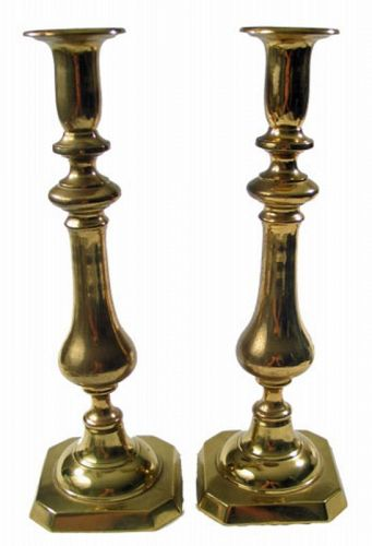 English Brass Candlesticks, Pair