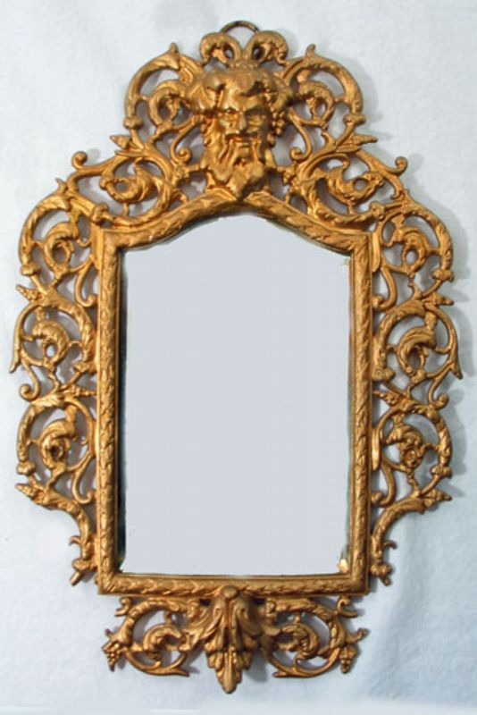 Gilt Brass Mirror with Ornate Frame