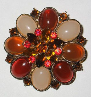 Jelly Bean and Rhinestone Brooch