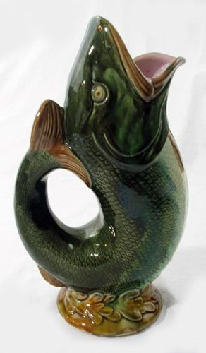 Majolica Gurgle Fish Pitcher