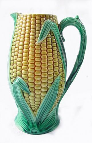 Majolica Milk Pitcher - Corn Motif