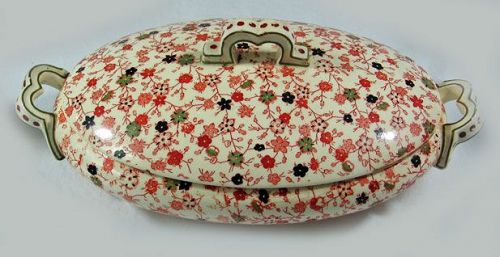Oriental Ivory Vegetable Dish with Cover