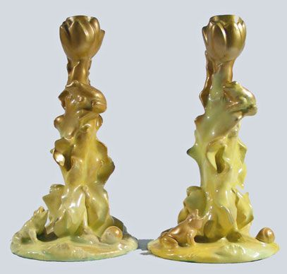 Pair of Massier Candlesticks