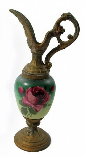 Porcelain Ewer with Metal Spout and Base