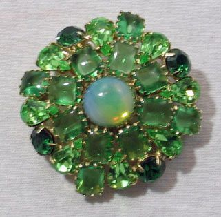 Shades of Green Rhinestone Brooch