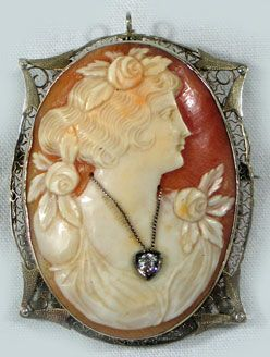 Shell Cameo Brooch With Diamond Pendant
