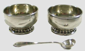 Sterling Salt Dish, pair with 1 spoon