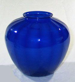 Steuben Optic Rib Vase, Dark Blue Jade