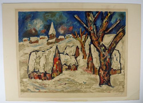 Village Winter Scene, Print, Signed