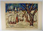 Village Winter Scene, Print, Signed