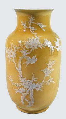 Yellow Ground Pate Sur Pate Vase
