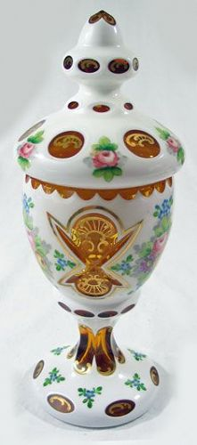 Bohemian Cut to Clear Case Glass Jar with Lid