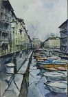 Canal Scene, Watercolor