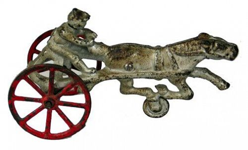 Cast Iron Horse Drawn Sulky with Driver