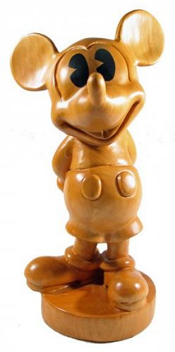 Large Wood Mickey Mouse Sculpture