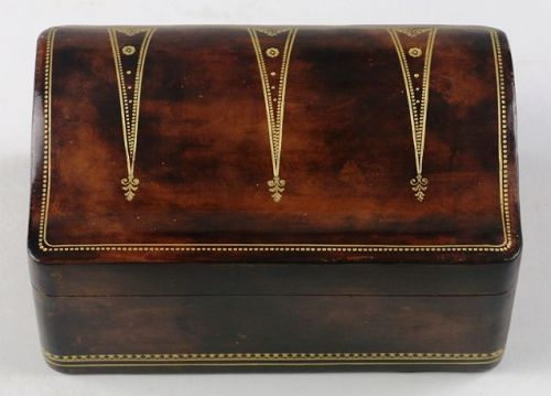 Italian Leather Box with Shaped Lid