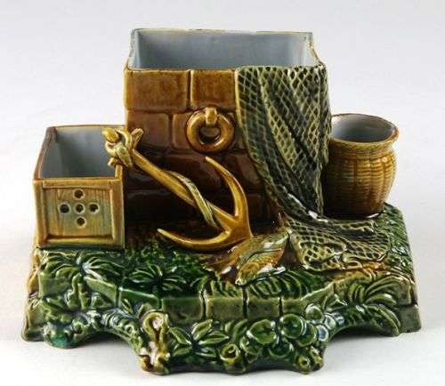 Majolica Desk Organizer OR Cigarette Holder