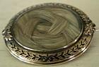 14k Gold & Black Enamel Braided Hair Mourning Pin, 1860