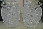 Pair of Lalique Clear & Frosted Glass Bluebird Vases