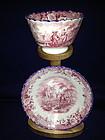 English Davenport Red & White Tea Bowl & Saucer 1830