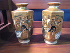 Pair Six Sided Kyoto Satsuma Vases, c. 1880