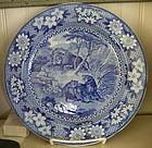 English Adams Blue & White Pottery Plate, c. 1820
