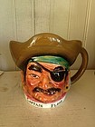 Handpainted Pottery Jug of a Pirate, c. 1920