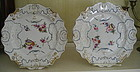 Pair English Molded Stone China Plates, Masons, 1840