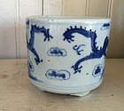 Chinese Export Porcelain Blue and White Brush Pot, 1880