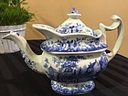Historical Staffordshire Blue Richard Jordan Tea Pot, c. 1830