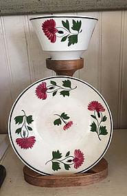 English Staffordshire Tea Bowl and Saucer, c. 1840